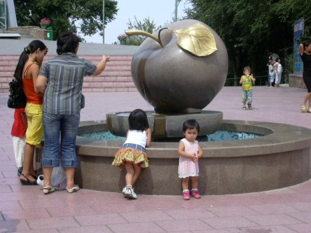 A sculpture in Almaty, Kazakhstan - the birthplace of the apple. (Photo courtesy: inga on Flickr: https://www.flickr.com/photos/ingalatvia/)